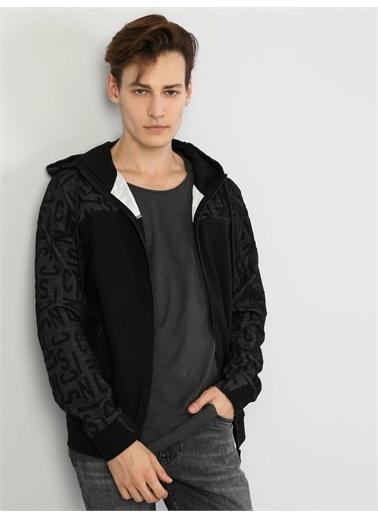 Colin's CL1047027_Q1.V2_BLK Dar Kesim Erkek Siyah Kapüşonlu Sweatshirt Siyah